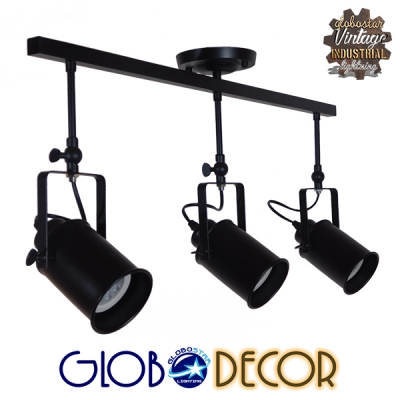 Vintage Φωτιστικό Οροφής Τρίφωτο Μαύρο Μεταλλικό Ράγα GloboStar HOLLYWOOD 01155