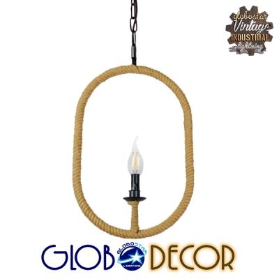 Vintage Κρεμαστό Φωτιστικό Οροφής Μονόφωτο Μαύρο Μεταλλικό με Μπεζ Σχοινί GloboStar ADAMS 01142