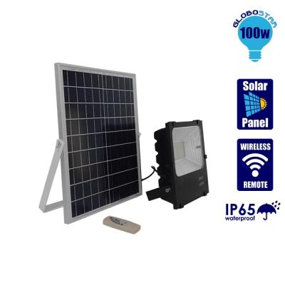 Αυτόνομος Ηλιακός Φωτοβολταϊκός Προβολέας LED 100 Watt IP 65 με Ασύρματο Χειριστήριο Ψυχρό Λευκό 6000k GloboStar 12104