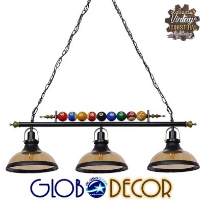 Vintage Industrial Κρεμαστό Φωτιστικό Οροφής Τρίφωτο Mαύρο Μεταλλικό GloboStar BILLIARD 01280