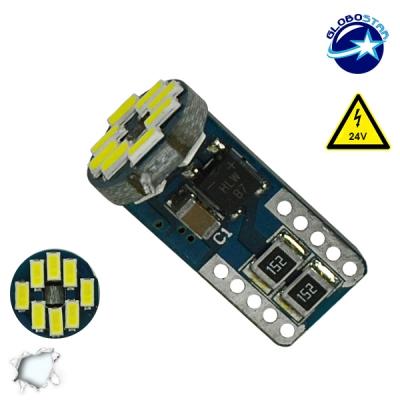 Λαμπτήρας LED T10 Can Bus με 12 SMD 3014 Samsung Chip 24v 6000k GloboStar 05482