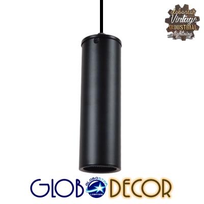 Μοντέρνο Κρεμαστό Φωτιστικό Οροφής Spot Gu10 Μονόφωτο Μαύρο Μεταλλικό Φ6 GloboStar CANNON BLACK 01275
