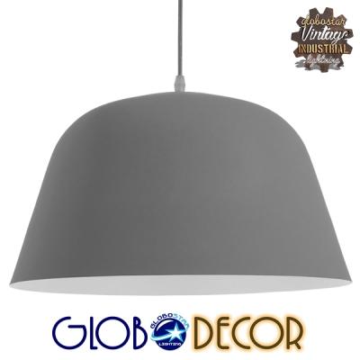 Μοντέρνο Κρεμαστό Φωτιστικό Οροφής Μονόφωτο Γκρί  Μεταλλικό Καμπάνα Φ40 GloboStar WESTVALE 01282