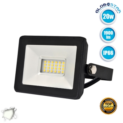 Προβολέας LED Slim Pad 20 Watt 230v Φυσικό Λευκό 4500k IP66 GloboStar 11142