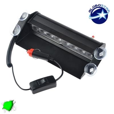 Φώτα Ασφαλείας 8 LED 12-24 Volt Πράσινο για Παρμπρίζ με Βεντούζα GloboStar 77666