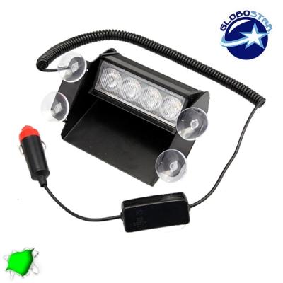 Φώτα Ασφαλείας 4 LED 12-24 Volt Πράσινο για Παρμπρίζ με Βεντούζα GloboStar 70151