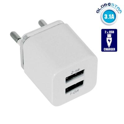 Φορτιστής USB 2 Θέσεων Wall Adapter 2.1A & 1A 5V DC Λευκός με Χρώμιο GloboStar 69996