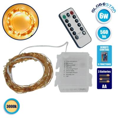 Διακοσμητική Γιρλάντα Μπαταρίας 10 Μέτρων 100 LED 6 Watt με Χάλκινο Συρμάτινο Καλώδιο και Ασύρματο Χειριστήριο Θερμό Λευκό 3000k GloboStar 80803