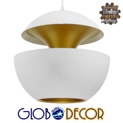 Μοντέρνο Κρεμαστό Φωτιστικό Οροφής Μονόφωτο Λευκό Μεταλλικό Φ35 GloboStar SEVILLE WHITE 01268