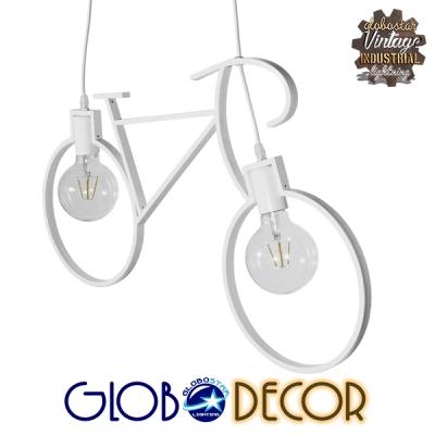 Vintage Κρεμαστό Φωτιστικό Οροφής Δίφωτο Λευκό Μεταλλικό GloboStar BIKE 01300