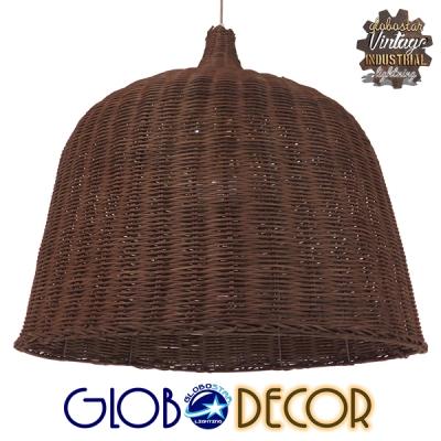Vintage Κρεμαστό Φωτιστικό Οροφής Μονόφωτο Καφέ Ξύλινο Ψάθινο Rattan Φ60 GloboStar ARGENTO 01369
