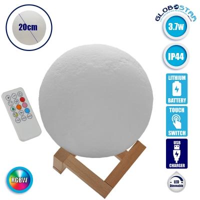 Επαναφορτιζόμενο Διακοσμητικό Ανάγλυφο Φωτιστικό Αφής 3D Moon 20cm RGBW Ντιμαριζόμενο με Ασύρματο Χειριστήριο GloboStar 07030