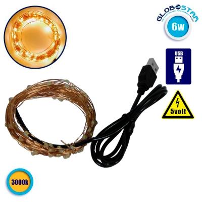 Διακοσμητική Γιρλάντα 10 Μέτρων 100 LED USB 5 Volt 6 Watt με Χάλκινο Συρμάτινο Καλώδιο Θερμό Λευκό 3000k GloboStar 80812