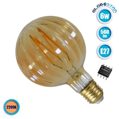 Λαμπτήρας LED Edison Filament Retro Μελί E27 6 Watt Watermelon Θερμό Λευκό 2200k Dimmable GloboStar 44036