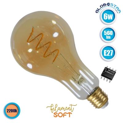 Λαμπτήρας LED Edison Soft Filament Retro Μελί E27 6 Watt PS30 Grapes Θερμό Λευκό 2200k Dimmable GloboStar 44037