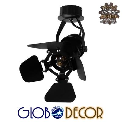 Vintage Industrial Φωτιστικό Οροφής Μονόφωτο Μαύρο Μεταλλικό GloboStar CHICAGO 01371