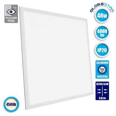 LED Panel Οροφής Ultra Slim 60x60cm Μοριακού Φωτισμού Milky 48 Watt Φυσικό Λευκό GloboStar 01804