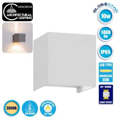 LED Φωτιστικό Τοίχου Αρχιτεκτονικού Φωτισμού Λευκό Up Down με Ρυθμιζόμενες Μοίρες Φωτισμού 10-100° Θερμό Λευκό IP65 GloboStar 96401