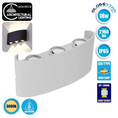 LED Φωτιστικό Τοίχου Αρχιτεκτονικού Φωτισμού Up Down Λευκό IP65 18 Watt CREE Θερμό Λευκό GloboStar 93072