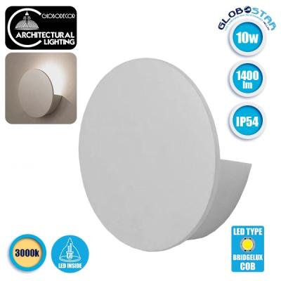 LED Φωτιστικό Τοίχου Απλίκα Αρχιτεκτονικού Φωτισμού Round Back Light Λευκό IP54 10 Watt CREE Θερμ