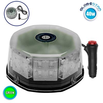 Φάρος Οδικής Βοήθειας Στρογγυλός Οροφής 40 Watt 10-30 Volt DC Πράσινο με Μαγνήτη GloboStar 34233