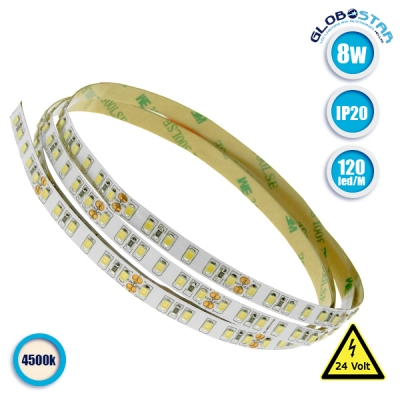 Ταινία LED 120 SMD 2835 8 Watt 24 Volt Φυσικό Λευκό IP20 GloboStar 63031