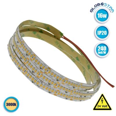 Ταινία LED 240 SMD 2835 16 Watt 24 Volt Θερμό Λευκό IP20 GloboStar 63040