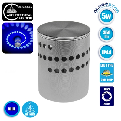 LED Φωτιστικό Τοίχου Αρχιτεκτονικού Φωτισμού IP44 5 Watt CREE Μπλε GloboStar 93076