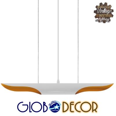 Μοντέρνο Κρεμαστό Φωτιστικό Οροφής Δίφωτο Λευκό Χρυσό Μεταλλικό GloboStar ARTICA 01305