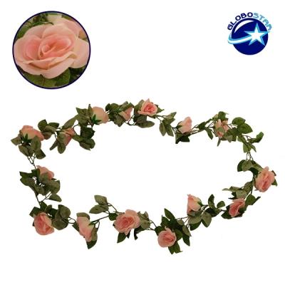 Τεχνητό Κρεμαστό Φυτό Διακοσμητική Γιρλάντα Μήκους 2 μέτρων με 16 X Μεγάλα Τριαντάφυλλα Ροζ GloboStar 09004