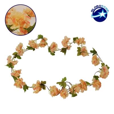 Τεχνητό Κρεμαστό Φυτό Διακοσμητική Γιρλάντα Μήκους 2.2 μέτρων με 18 X Άνθη Κερασιάς Σομόν GloboStar 09022