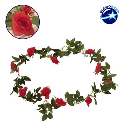 Τεχνητό Κρεμαστό Φυτό Διακοσμητική Γιρλάντα Μήκους 2.2 μέτρων με 10 X Μεγάλα Τριαντάφυλλα Κόκκινα GloboStar 09002