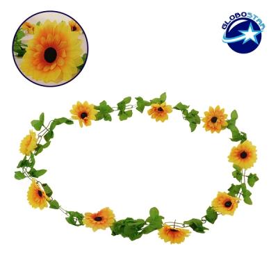 Τεχνητό Κρεμαστό Φυτό Διακοσμητική Γιρλάντα Μήκους 2.2 μέτρων με 10 X Μεγάλα Ηλιοτρόπια Κίτρινα GloboStar 09029