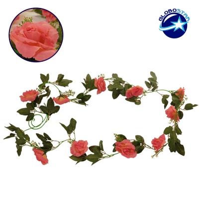 Τεχνητό Κρεμαστό Φυτό Διακοσμητική Γιρλάντα Μήκους 2.2 μέτρων με 10 X Μεγάλα Τριαντάφυλλα Κοραλί GloboStar 09001